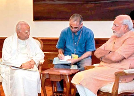 prime minister modi with tna leader sambanthan