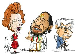 margaret thatcher,chandraswamy, natwarsingh -cartoon