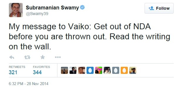 swamy plus vaiko twitter
