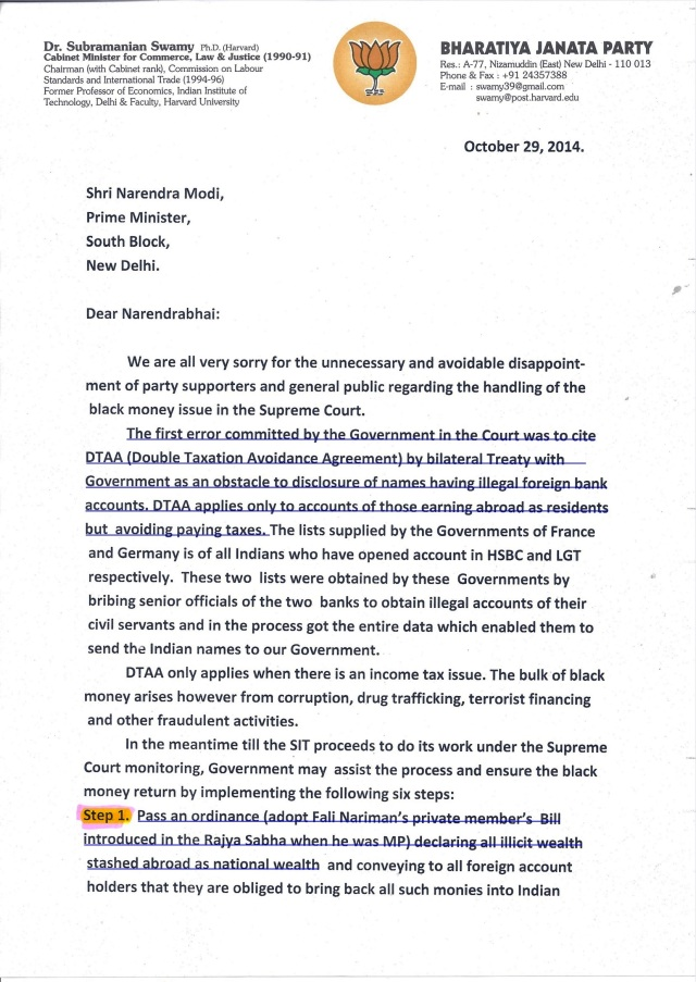 swamy letter to modiji-A