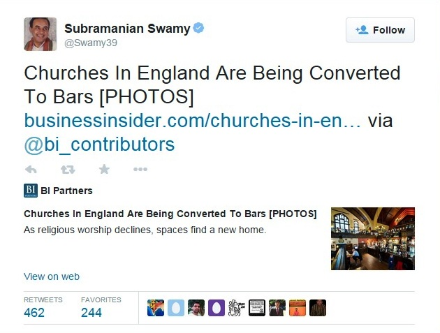 swamy twitter on church