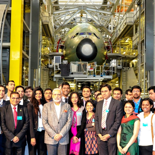 modiji in airbus factory