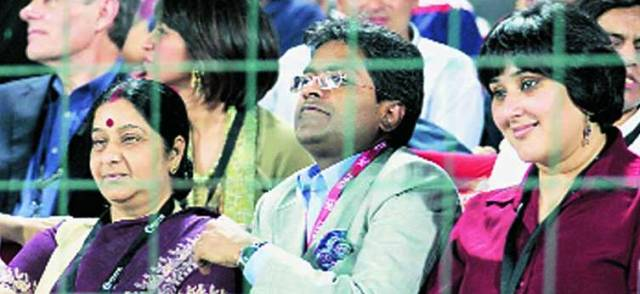 sushma and modi in ipl