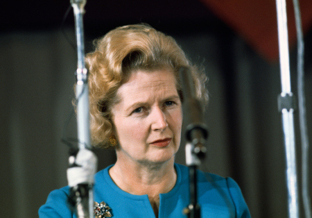 08 Feb 1975, Eastbourne, East Sussex, England, UK --- Conservative Party leader Margaret Thatcher listens during a 1975 national conference of conservative youth in Eastbourne. Thatcher, a pro-Europe politician, co-chaired the conference with Willie Whitelaw. --- Image by © Selwyn Tait/Sygma/Corbis