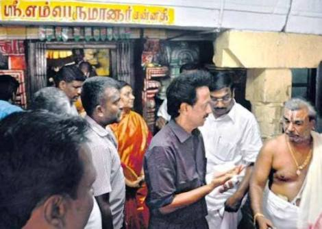 stalin in perumal temple with wife