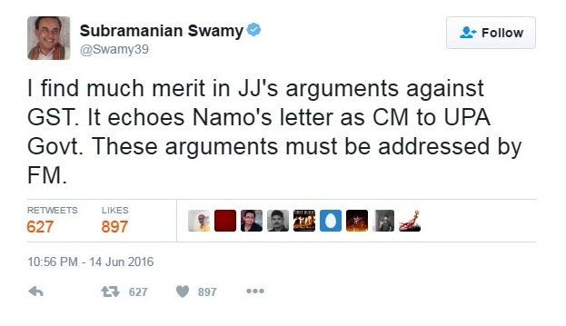dr.swamy tweet on jj gst