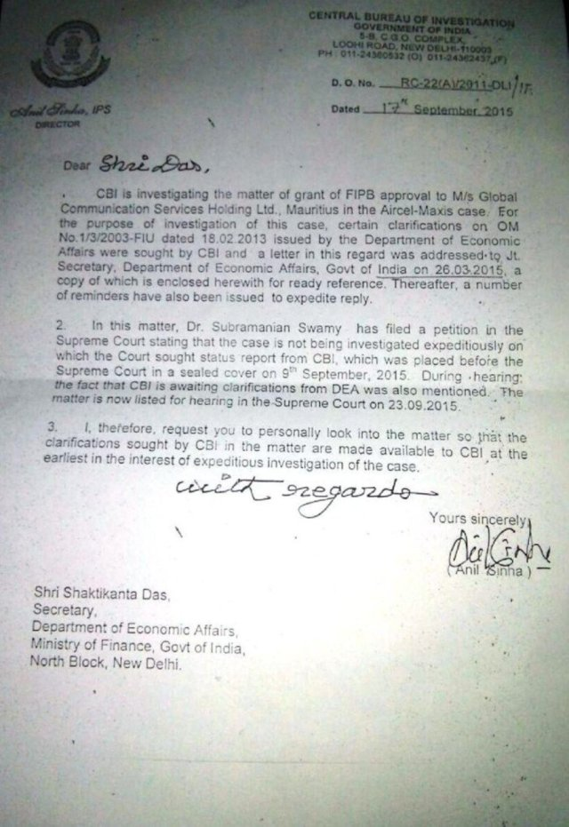 letter to shri SK das