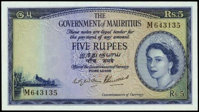Mauritius 5 Rupees 1954