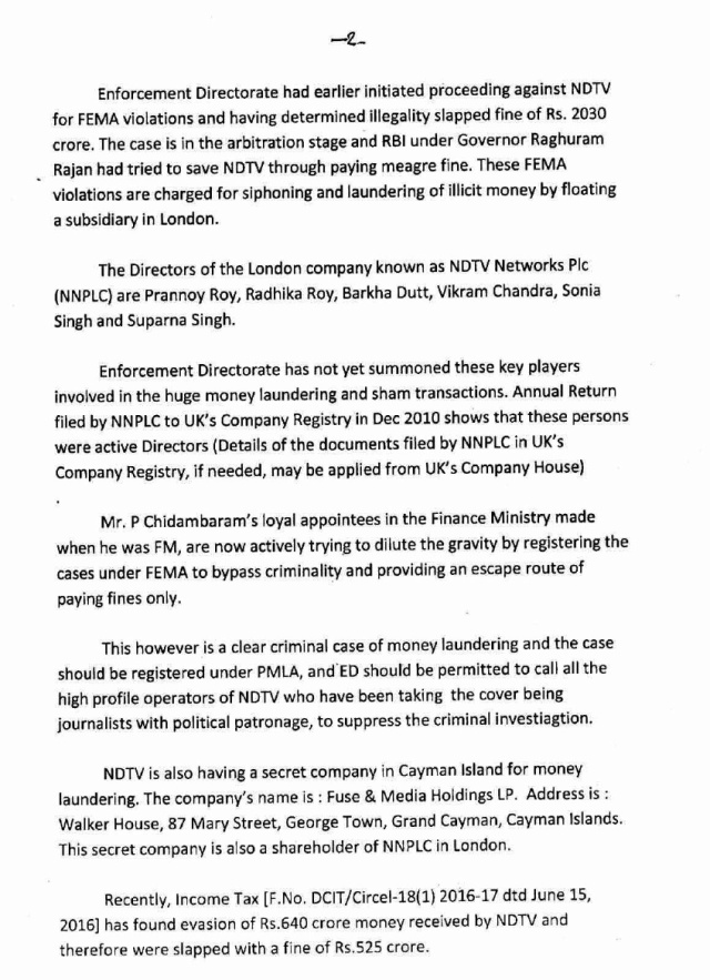 swamy letter to pm on ndtv.2
