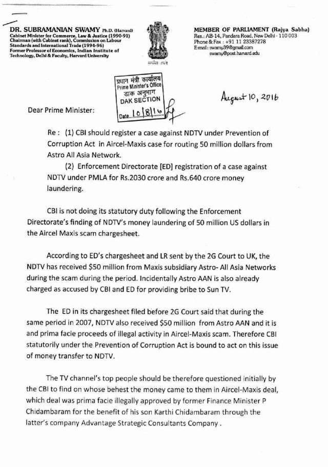 swamy letter to pm on ndtv